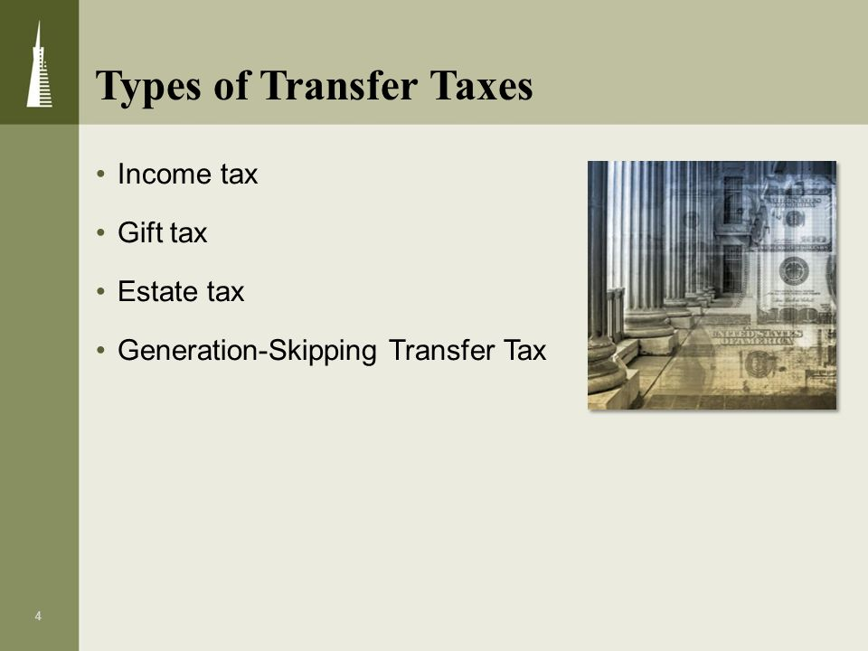 4 Income tax Gift tax Estate tax Generation-Skipping Transfer Tax Types of Transfer Taxes
