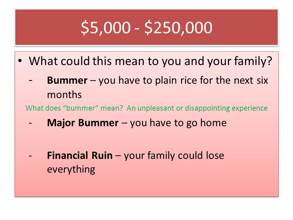 $5,000 - $250,000 What could this mean to you and your family.
