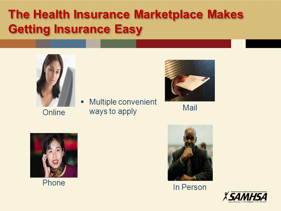 The Health Insurance Marketplace Makes Getting Insurance Easy Multiple convenient ways to apply Mail Online Phone In Person