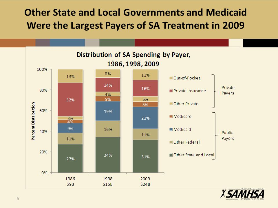 Other State and Local Governments and Medicaid Were the Largest Payers of SA Treatment in 2009 5