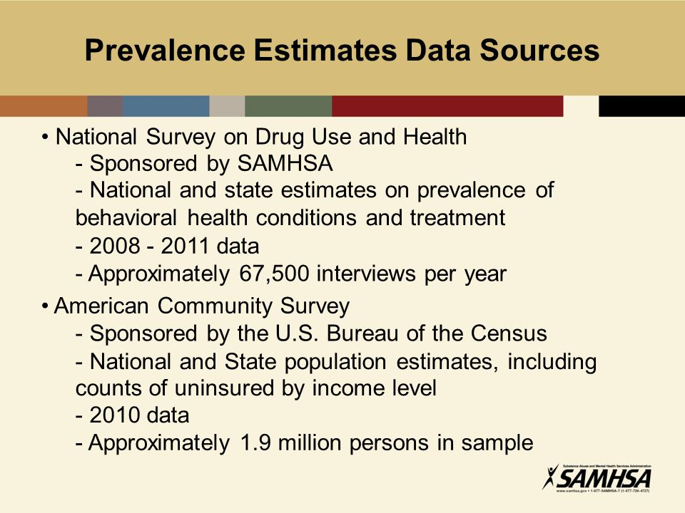 Prevalence Estimates Data Sources National Survey on Drug Use and Health - Sponsored by SAMHSA - National and state estimates on prevalence of behavioral health conditions and treatment - 2008 - 2011 data - Approximately 67,500 interviews per year American Community Survey - Sponsored by the U.S.