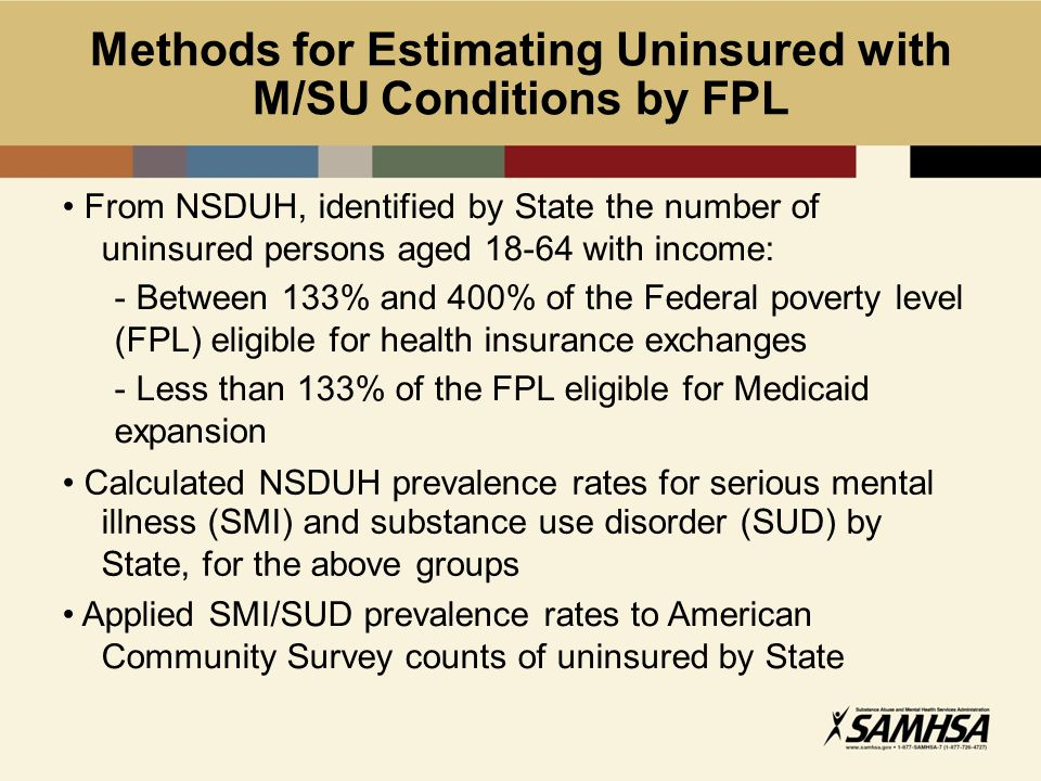 Methods for Estimating Uninsured with M/SU Conditions by FPL From NSDUH, identified by State the number of uninsured persons aged 18-64 with income: - Between 133% and 400% of the Federal poverty level (FPL) eligible for health insurance exchanges - Less than 133% of the FPL eligible for Medicaid expansion Calculated NSDUH prevalence rates for serious mental illness (SMI) and substance use disorder (SUD) by State, for the above groups Applied SMI/SUD prevalence rates to American Community Survey counts of uninsured by State