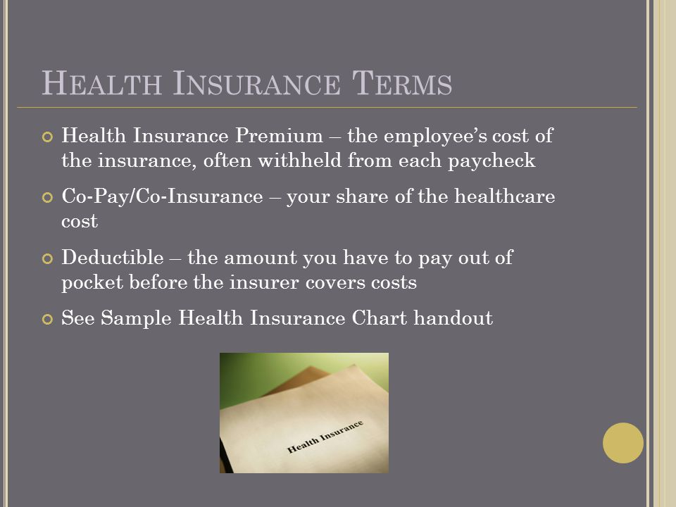 H EALTH I NSURANCE T ERMS Health Insurance Premium – the employees cost of the insurance, often withheld from each paycheck Co-Pay/Co-Insurance – your share of the healthcare cost Deductible – the amount you have to pay out of pocket before the insurer covers costs See Sample Health Insurance Chart handout