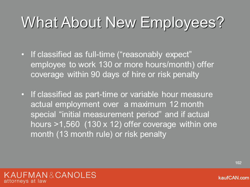 kaufCAN.com 102 What About New Employees.