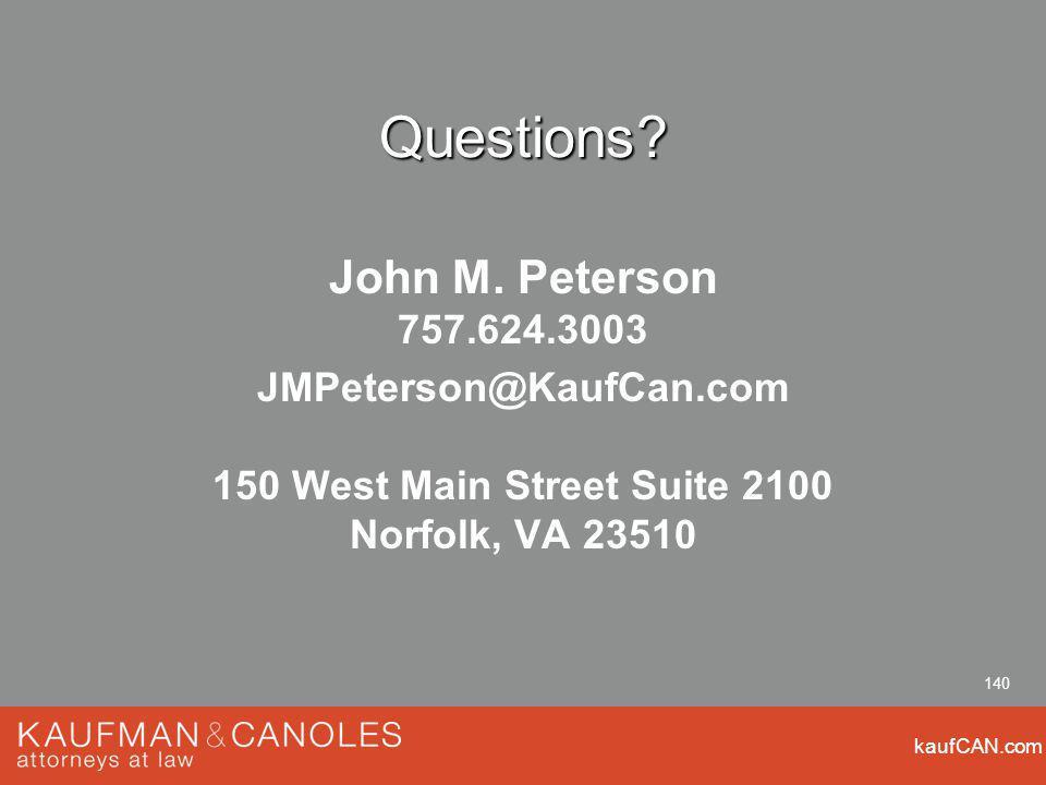 kaufCAN.com 140 Questions. John M.