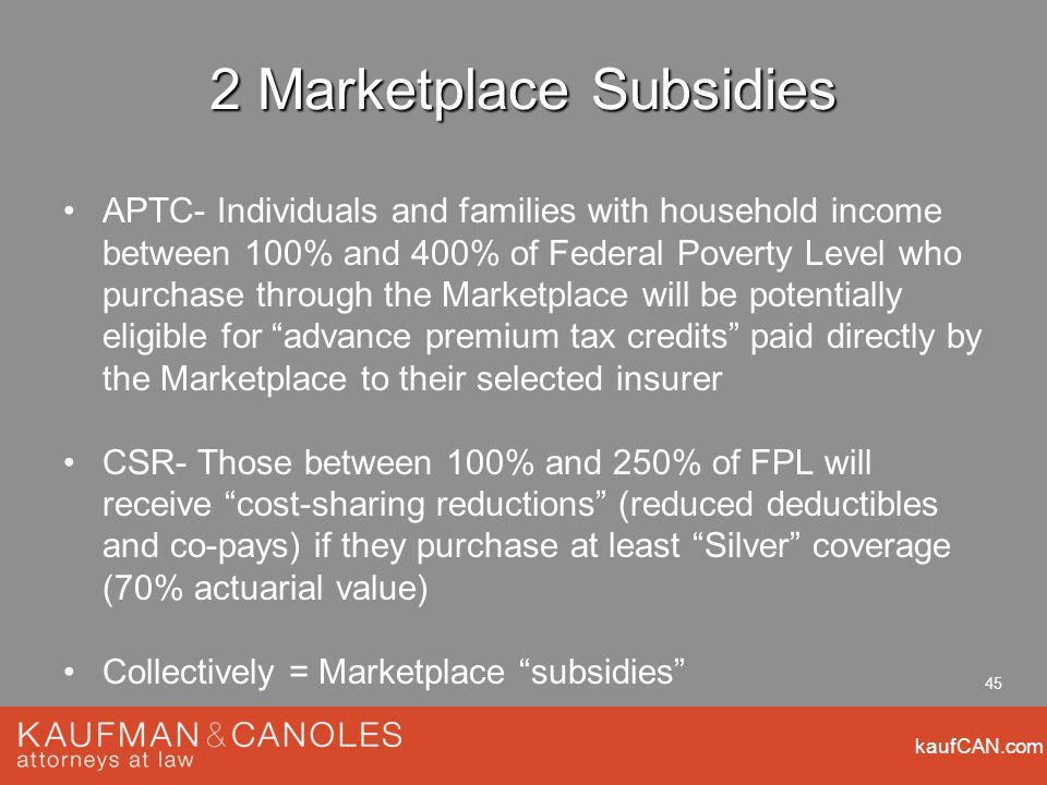 kaufCAN.com 45 2 Marketplace Subsidies APTC- Individuals and families with household income between 100% and 400% of Federal Poverty Level who purchas