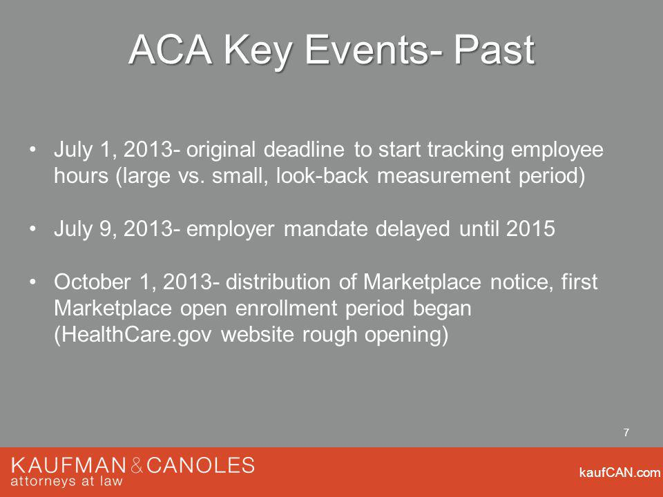 kaufCAN.com 7 ACA Key Events- Past July 1, 2013- original deadline to start tracking employee hours (large vs.