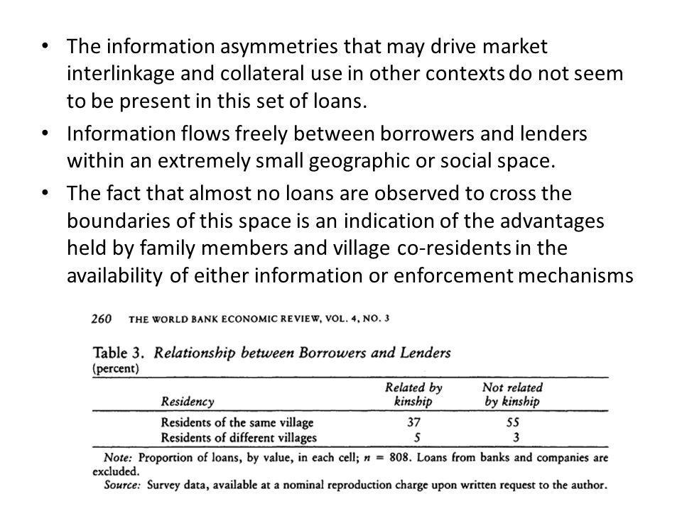 The information asymmetries that may drive market interlinkage and collateral use in other contexts do not seem to be present in this set of loans. In