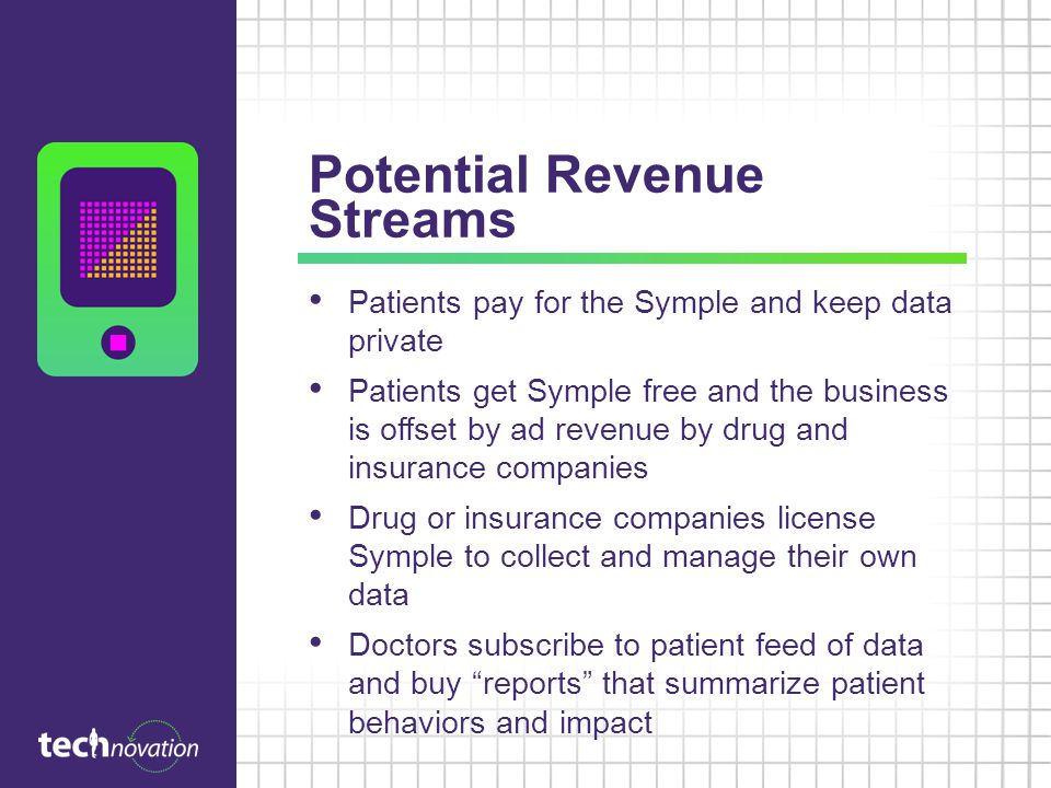 Potential Revenue Streams Patients pay for the Symple and keep data private Patients get Symple free and the business is offset by ad revenue by drug and insurance companies Drug or insurance companies license Symple to collect and manage their own data Doctors subscribe to patient feed of data and buy reports that summarize patient behaviors and impact