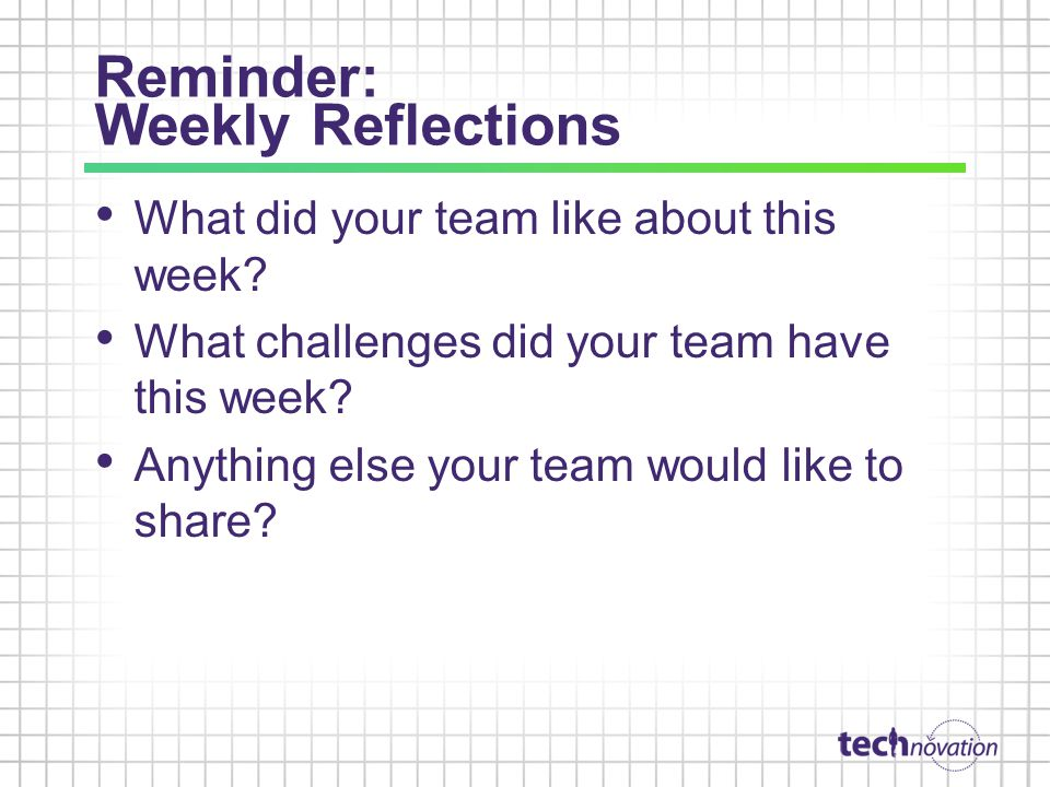 Reminder: Weekly Reflections What did your team like about this week.