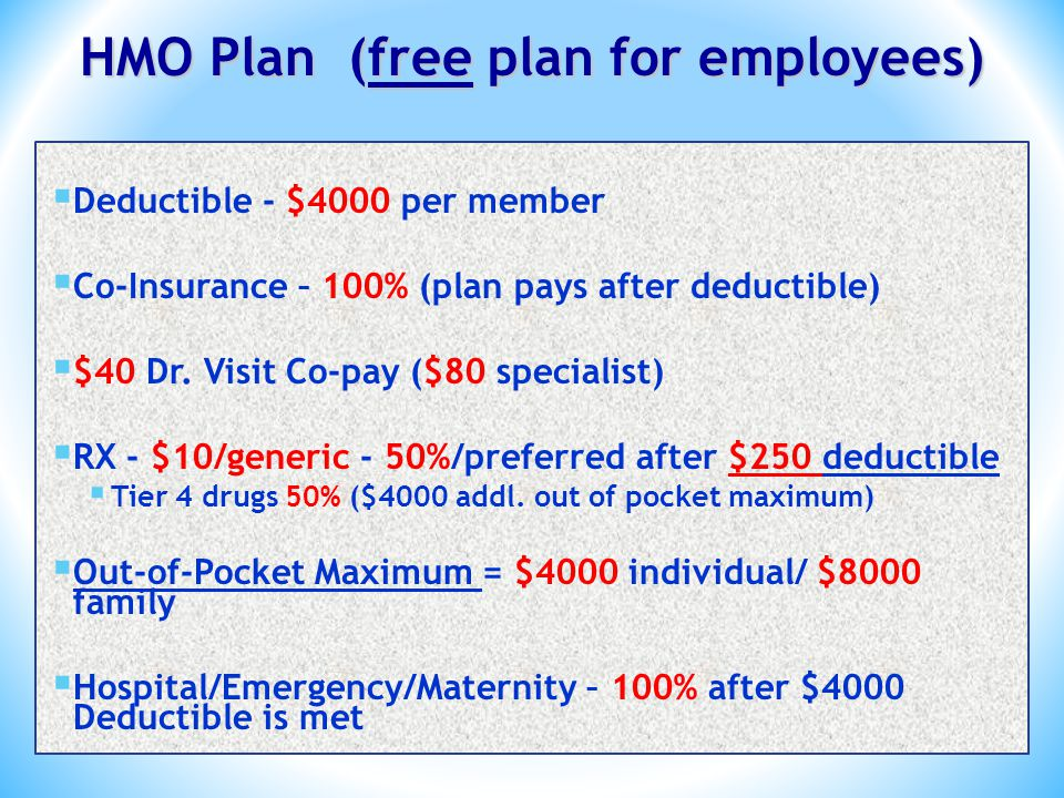 HMO Plan (free plan for employees) Deductible - $4000 per member Co-Insurance – 100% (plan pays after deductible) $40 Dr.