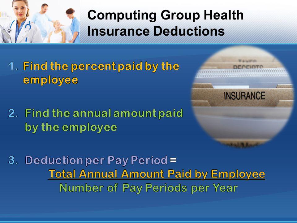 Computing Group Health Insurance Deductions
