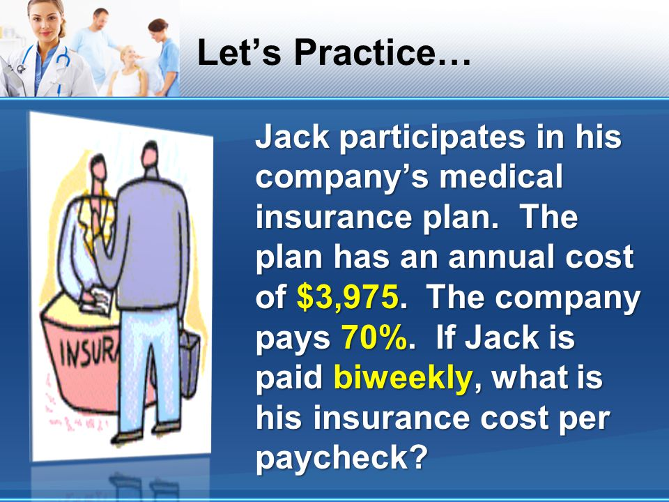 Lets Practice… Jack participates in his companys medical insurance plan. The plan has an annual cost of $3,975. The company pays 70%. If Jack is paid