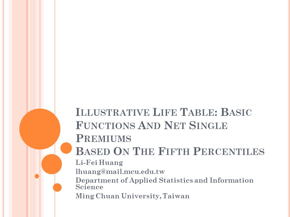 I LLUSTRATIVE L IFE T ABLE : B ASIC F UNCTIONS A ND N ET S INGLE P REMIUMS B ASED O N T HE F IFTH P ERCENTILES Li-Fei Huang lhuang@mail.mcu.edu.tw Department of Applied Statistics and Information Science Ming Chuan University, Taiwan