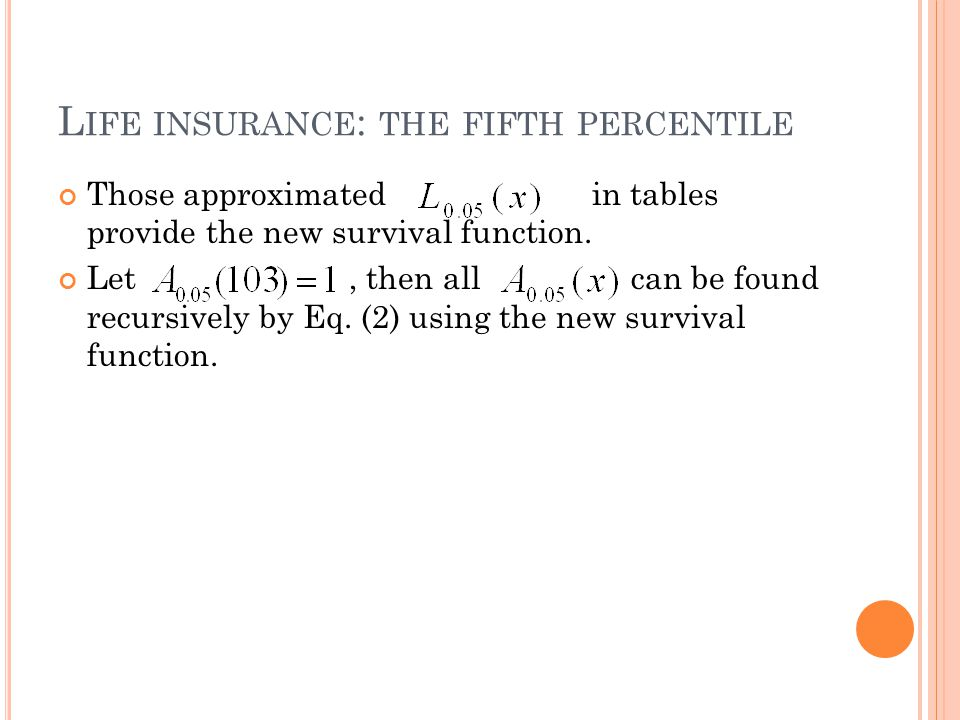 L IFE INSURANCE : THE FIFTH PERCENTILE Those approximated in tables provide the new survival function.