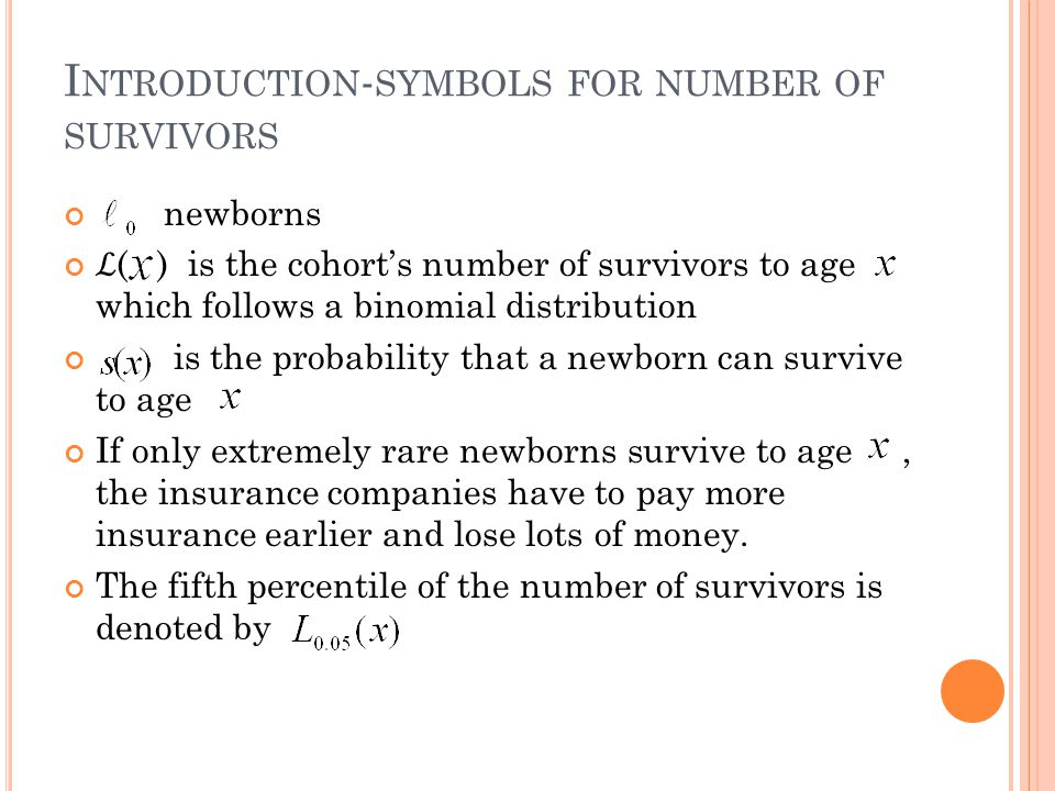 I NTRODUCTION - SYMBOLS FOR NUMBER OF SURVIVORS newborns ( ) is the cohorts number of survivors to age which follows a binomial distribution is the probability that a newborn can survive to age If only extremely rare newborns survive to age, the insurance companies have to pay more insurance earlier and lose lots of money.