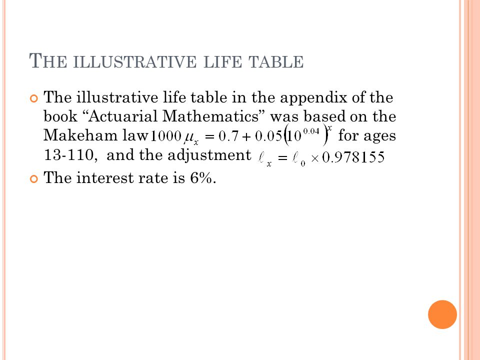 T HE ILLUSTRATIVE LIFE TABLE The illustrative life table in the appendix of the book Actuarial Mathematics was based on the Makeham law for ages 13-110, and the adjustment The interest rate is 6%.