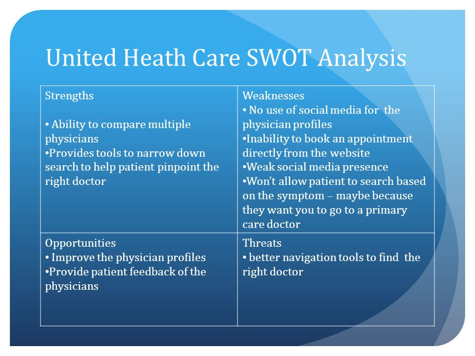 United Heath Care SWOT Analysis Strengths Ability to compare multiple physicians Provides tools to narrow down search to help patient pinpoint the rig