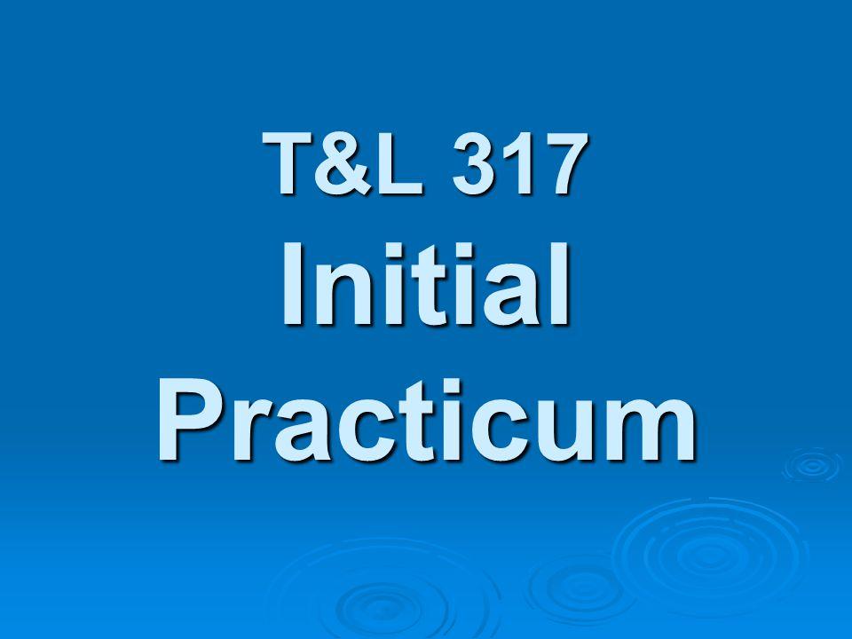 T&L 317 Initial Practicum