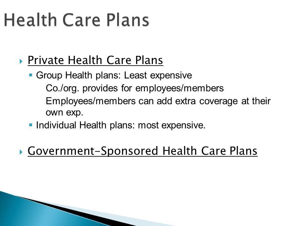 Private Health Care Plans Group Health plans: Least expensive Co./org.