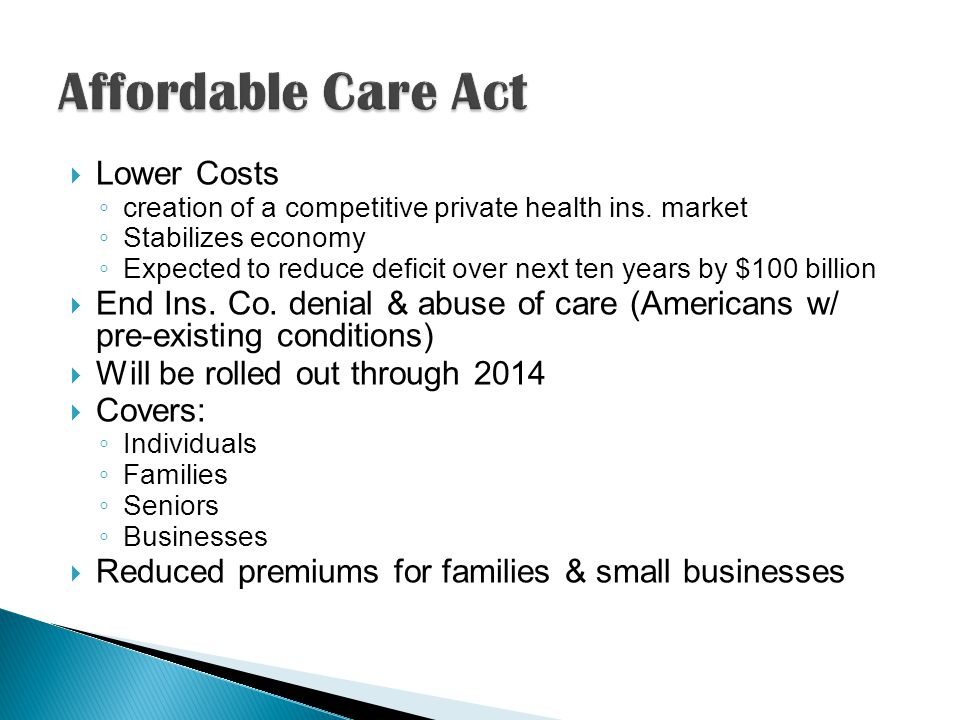 Lower Costs creation of a competitive private health ins.