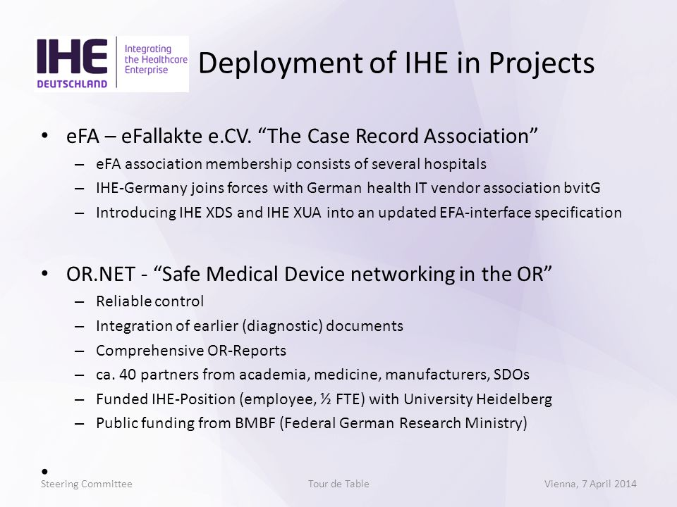 eFA – eFallakte e.CV. The Case Record Association – eFA association membership consists of several hospitals – IHE-Germany joins forces with German he