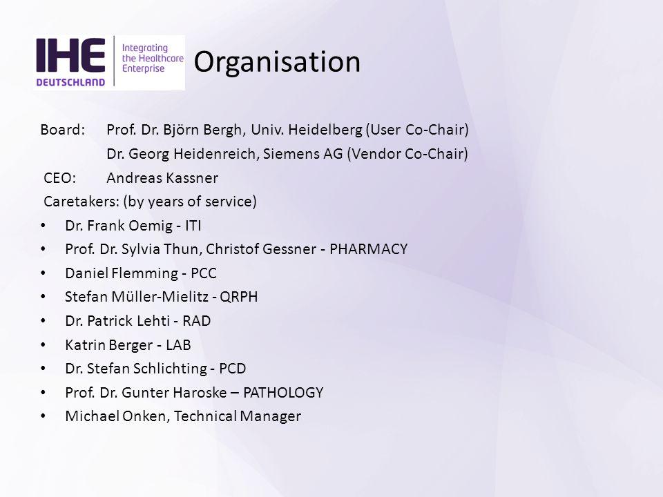 Organisation Board: Prof. Dr. Björn Bergh, Univ. Heidelberg (User Co-Chair) Dr. Georg Heidenreich, Siemens AG (Vendor Co-Chair) CEO: Andreas Kassner C