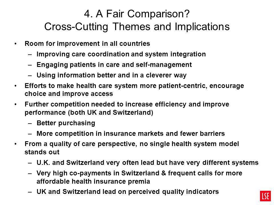 4. A Fair Comparison? Cross-Cutting Themes and Implications Room for improvement in all countries –Improving care coordination and system integration