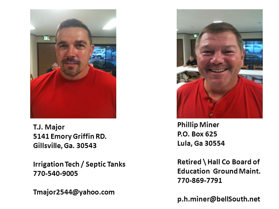 T.J.Major 5141 Emory Griffin RD. Gillsville, Ga.