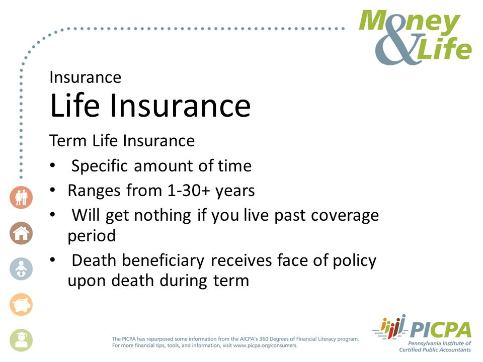 Insurance Life Insurance Term Life Insurance Specific amount of time Ranges from 1-30+ years Will get nothing if you live past coverage period Death beneficiary receives face of policy upon death during term