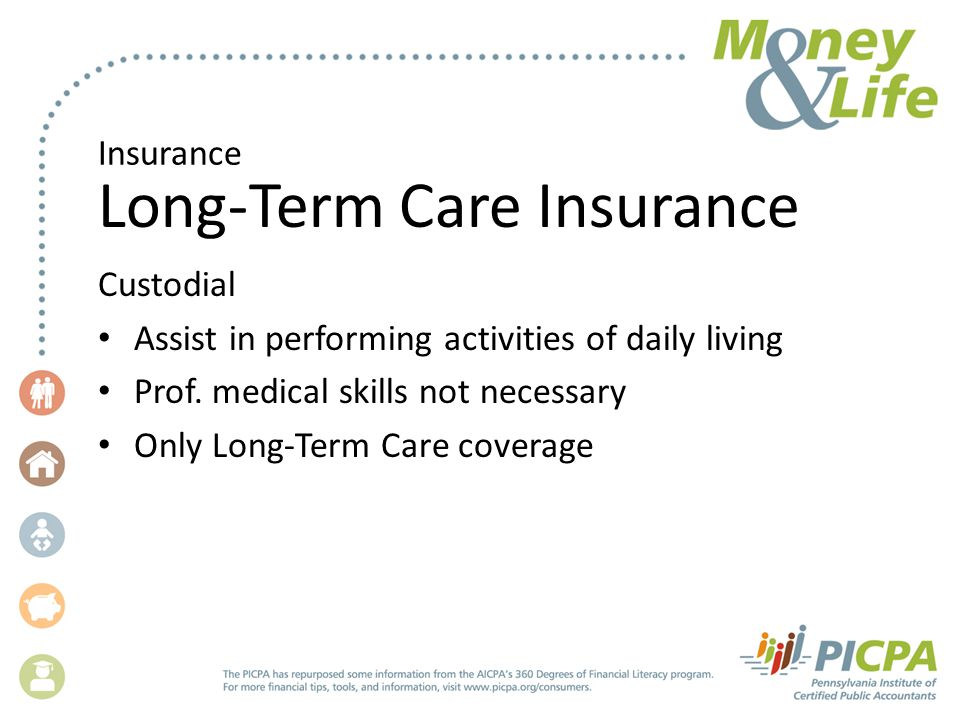 Insurance Long-Term Care Insurance Custodial Assist in performing activities of daily living Prof.