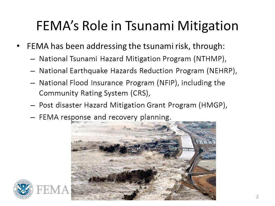 FEMAs Role in Tsunami Mitigation FEMA has been addressing the tsunami risk, through: – National Tsunami Hazard Mitigation Program (NTHMP), – National