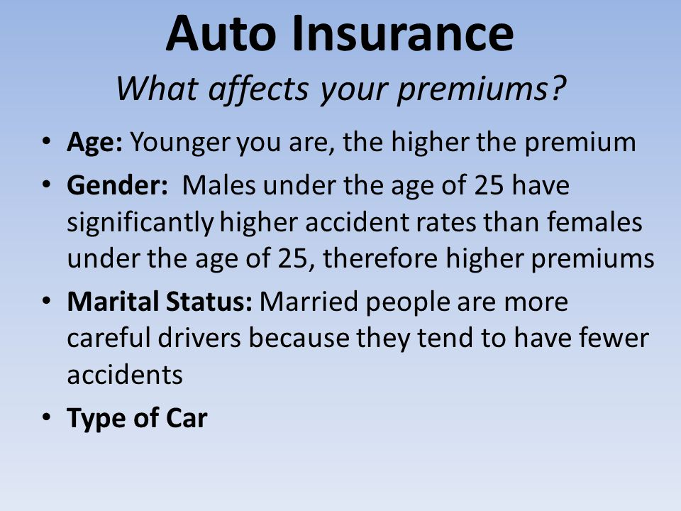Auto Insurance What affects your premiums? Age: Younger you are, the higher the premium Gender: Males under the age of 25 have significantly higher ac