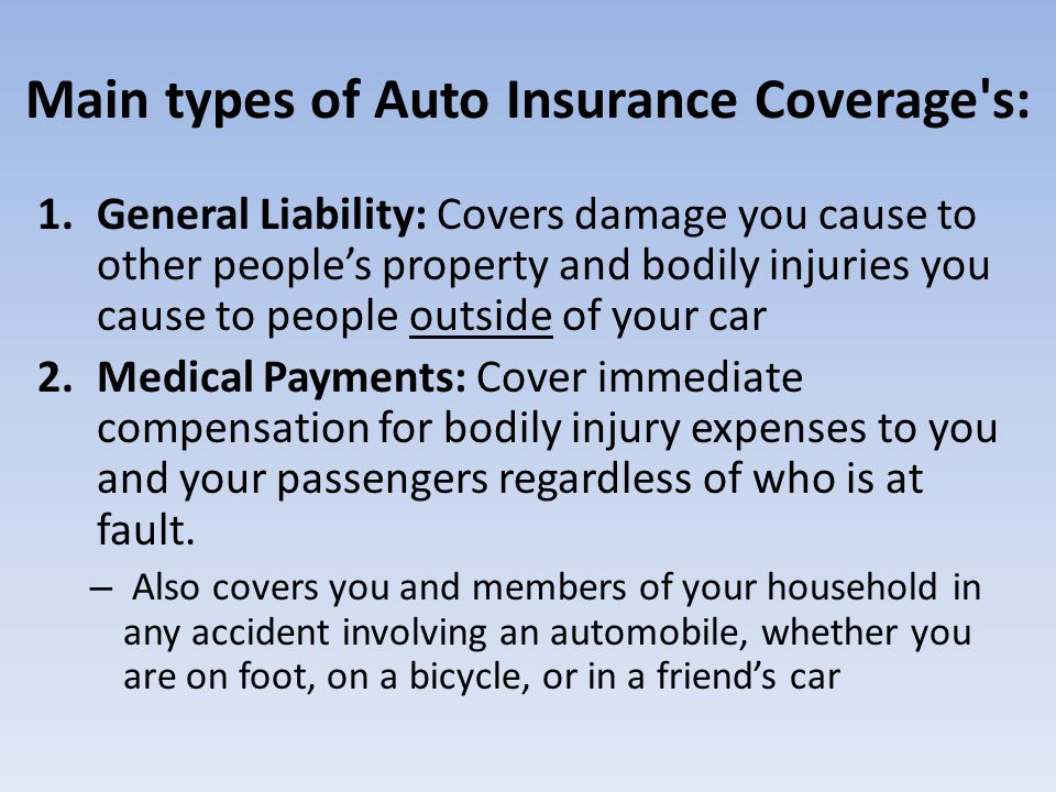 Main types of Auto Insurance Coverage's: 1.General Liability: Covers damage you cause to other peoples property and bodily injuries you cause to peopl