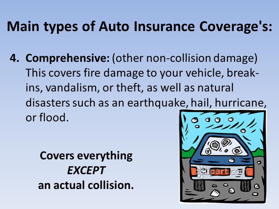 Main types of Auto Insurance Coverage's: 4.Comprehensive: (other non-collision damage) This covers fire damage to your vehicle, break- ins, vandalism,