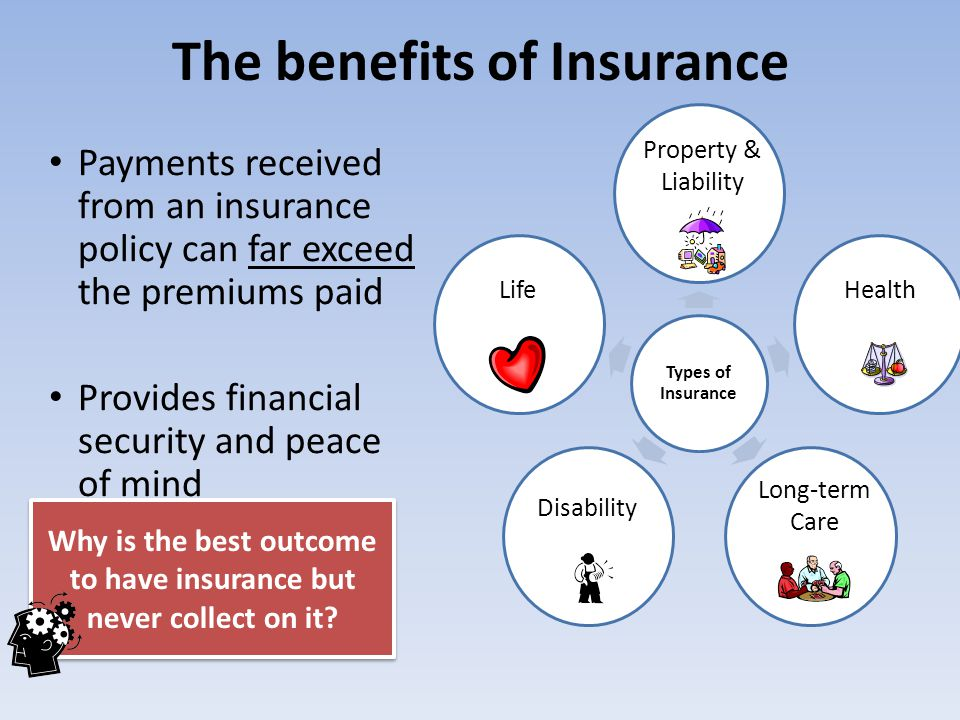 The benefits of Insurance Payments received from an insurance policy can far exceed the premiums paid Provides financial security and peace of mind Wh