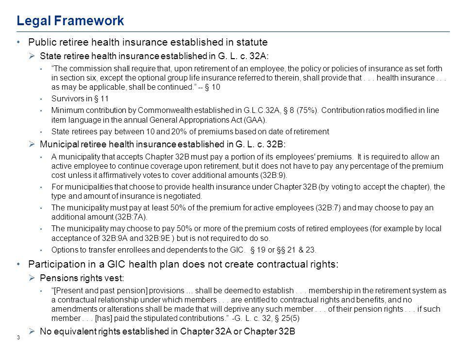 3 Legal Framework Public retiree health insurance established in statute State retiree health insurance established in G.