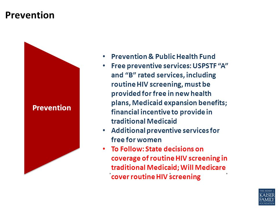 Prevention Medicaid Expansion Medicare Fixes Benefit Standards Prevention Prevention & Public Health Fund Free preventive services: USPSTF A and B rated services, including routine HIV screening, must be provided for free in new health plans, Medicaid expansion benefits; financial incentive to provide in traditional Medicaid Additional preventive services for free for women To Follow: State decisions on coverage of routine HIV screening in traditional Medicaid; Will Medicare cover routine HIV screening