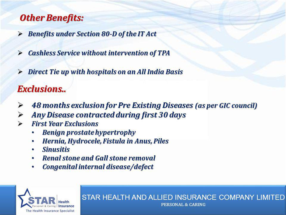 STAR HEALTH AND ALLIED INSURANCE COMPANY LIMITED PERSONAL & CARING STAR HEALTH AND ALLIED INSURANCE COMPANY LIMITED PERSONAL & CARING Benefits under S