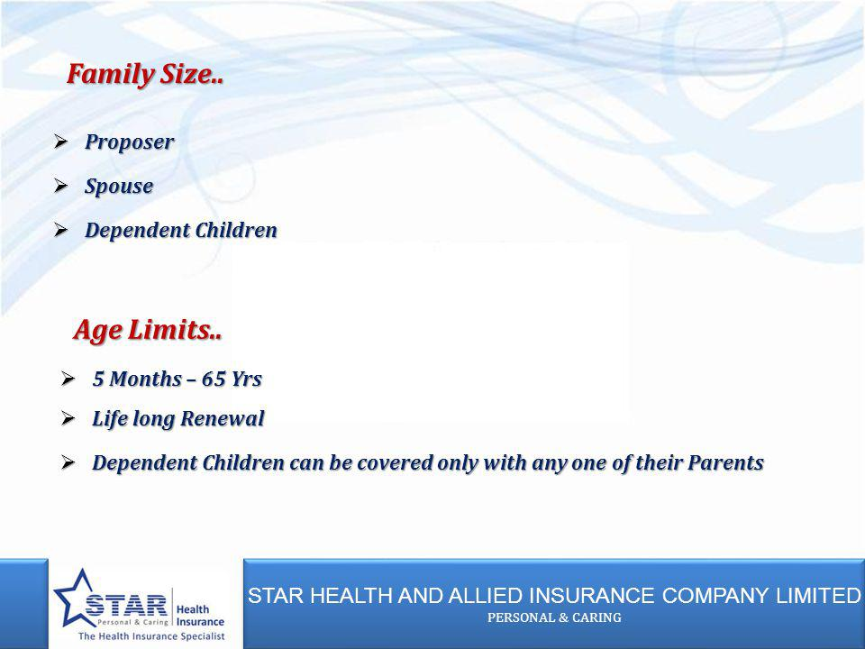 STAR HEALTH AND ALLIED INSURANCE COMPANY LIMITED PERSONAL & CARING STAR HEALTH AND ALLIED INSURANCE COMPANY LIMITED PERSONAL & CARING 5 Months – 65 Yr