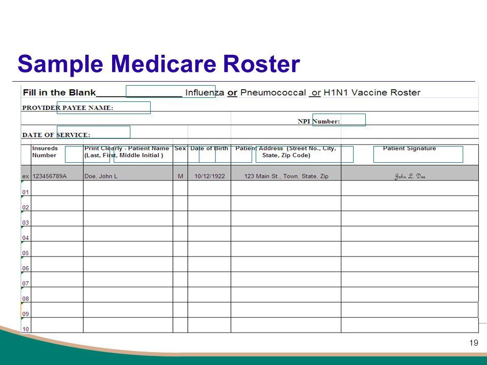 Sample Medicare Roster 19