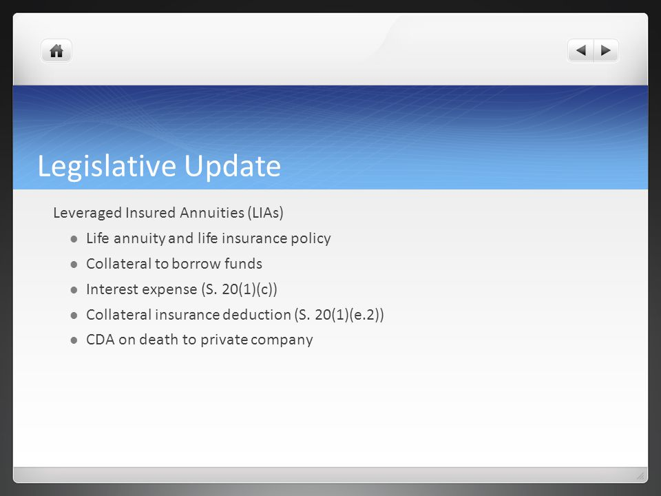 Legislative Update Leveraged Insured Annuities (LIAs) Life annuity and life insurance policy Collateral to borrow funds Interest expense (S.