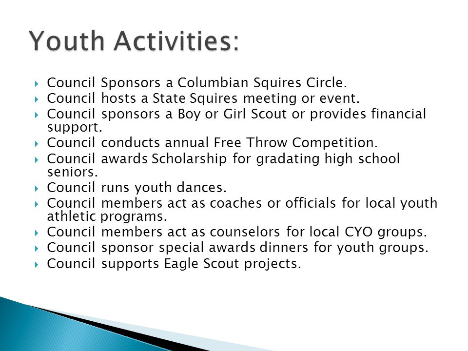 Council Sponsors a Columbian Squires Circle. Council hosts a State Squires meeting or event.