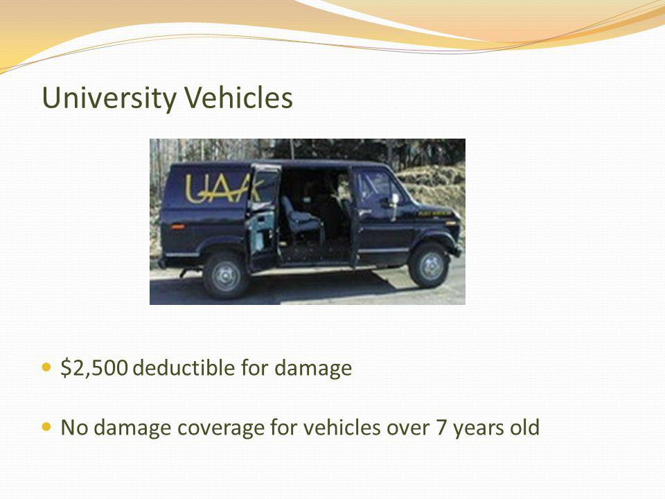 University Vehicles $2,500 deductible for damage No damage coverage for vehicles over 7 years old
