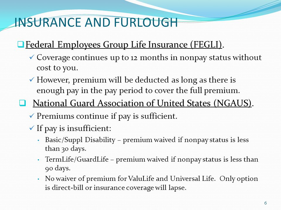 INSURANCE AND FURLOUGH Federal Employees Health Benefits (FEHB).