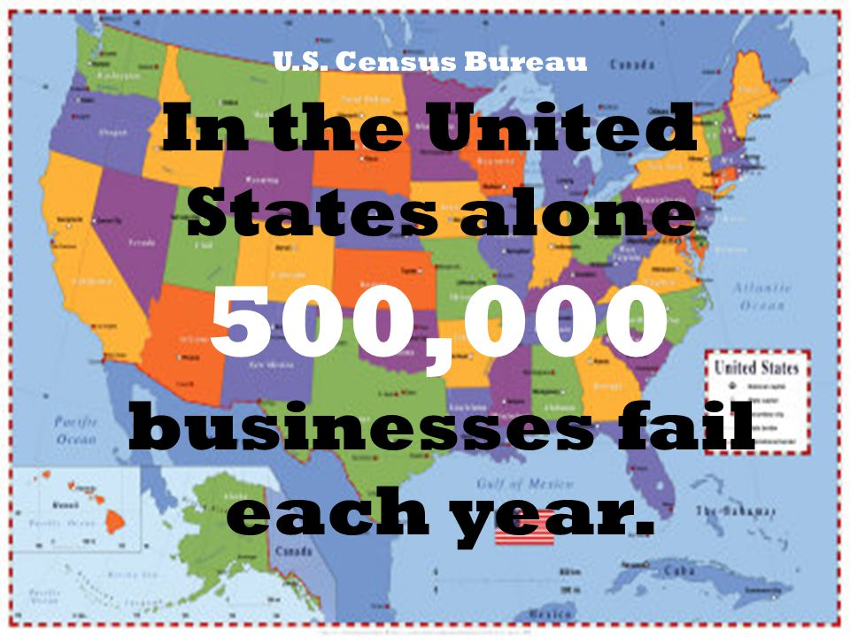 U.S. Census Bureau In the United States alone 500,000 businesses fail each year.
