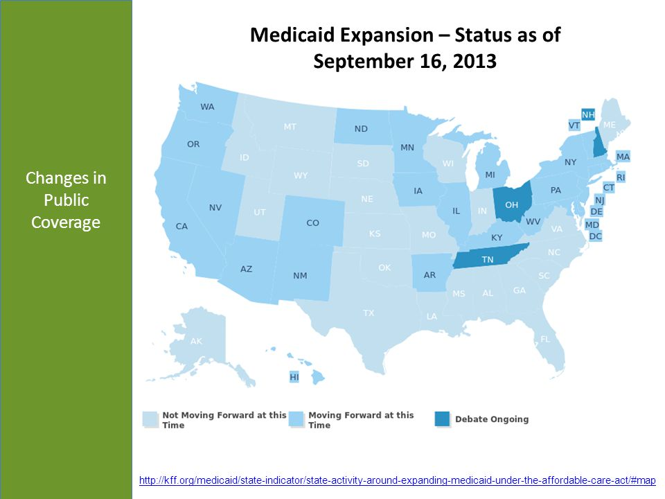 Changes in Public Coverage Medicaid Expansion – Status as of September 16, 2013 http://kff.org/medicaid/state-indicator/state-activity-around-expandin