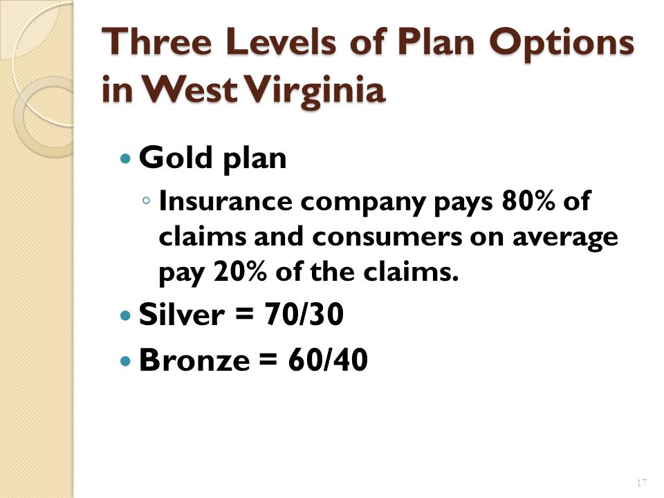 Health Insurance Marketplace Highmark Blue Cross Blue Shield the only carrier to participate in 2014 They are offering 11 different plans: 4 gold plans; 3 silver and 3 bronze plans; and one catastrophic plan.