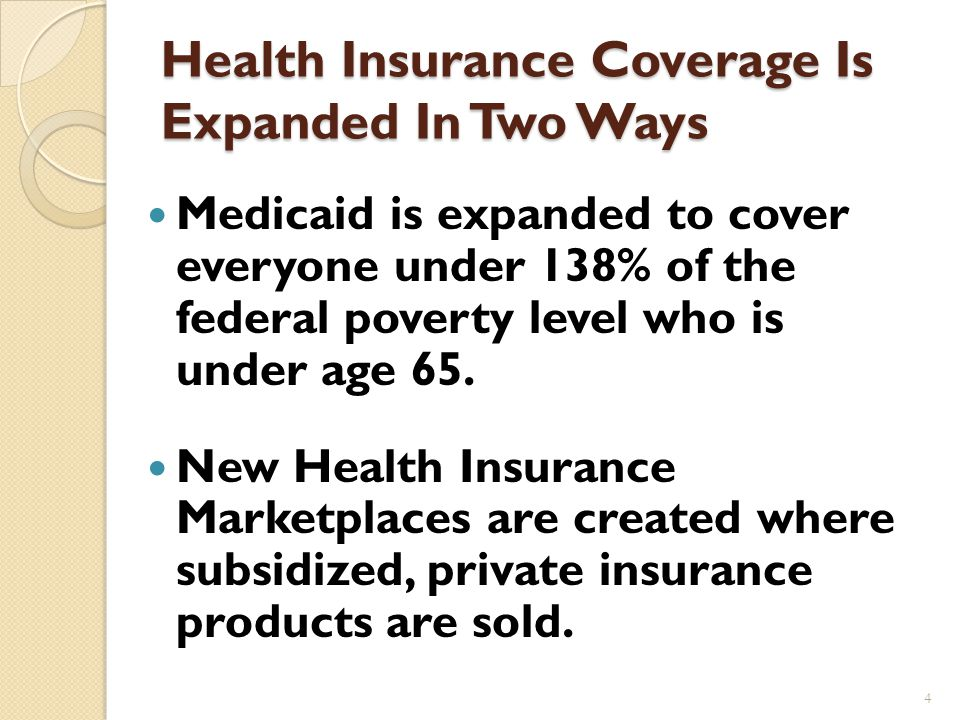 ACA Has Four Main Goals New regulations of the insurance industry Renewed emphasis on prevention Cost containment, particularly for Medicare Expands health insurance to virtually all Americans 3
