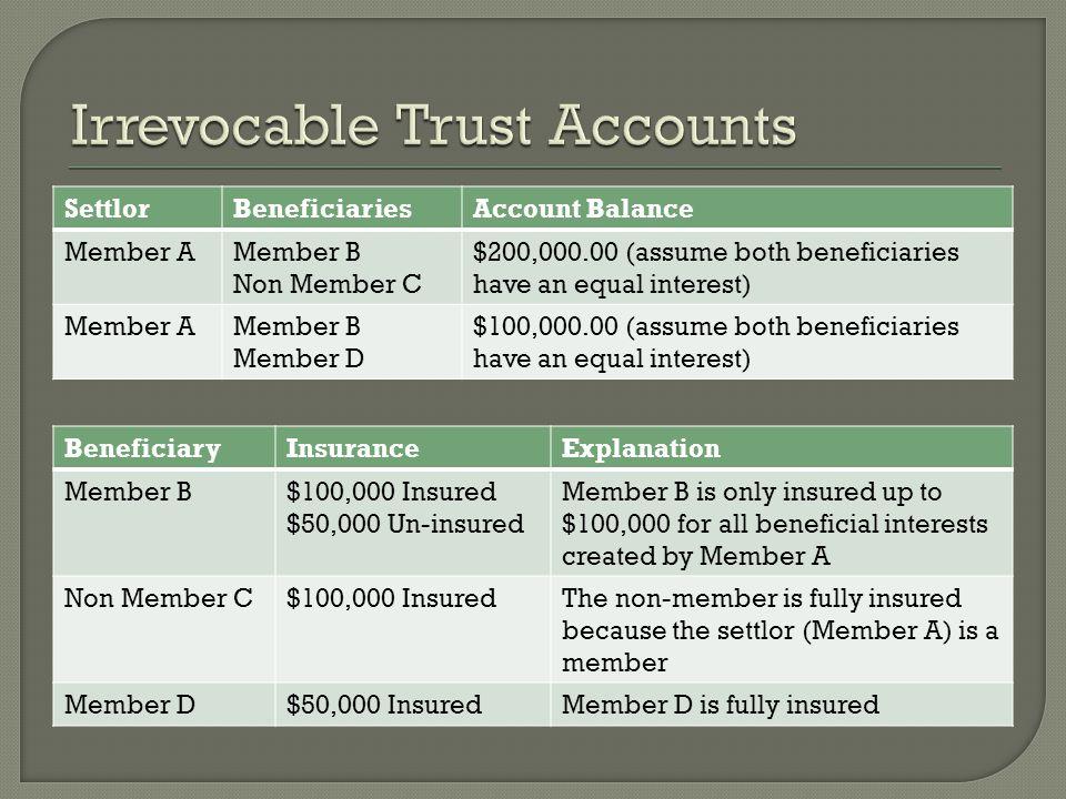 SettlorBeneficiariesAccount Balance Member AMember B Non Member C $200,000.00 (assume both beneficiaries have an equal interest) Member AMember B Member D $100,000.00 (assume both beneficiaries have an equal interest) BeneficiaryInsuranceExplanation Member B$100,000 Insured $50,000 Un-insured Member B is only insured up to $100,000 for all beneficial interests created by Member A Non Member C$100,000 InsuredThe non-member is fully insured because the settlor (Member A) is a member Member D$50,000 InsuredMember D is fully insured
